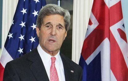 El secretario de Estado, John Kerry, durante la rueda de prensa con su homólogo australiano, Bob Carr.