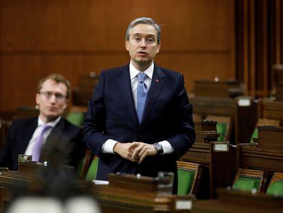 El Ministro de Asuntos Exteriores de Canadá, Francois-Philippe Champagne, habla en la Cámara de los Comunes, el pasado marzo.