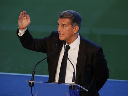 Laporta, en el acto de la toma de posesión a la presidencia del Barça.