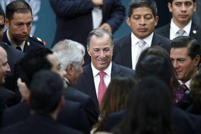 Meade y Peña Nieto, tras el anuncio en la residencia de Los Pinos.