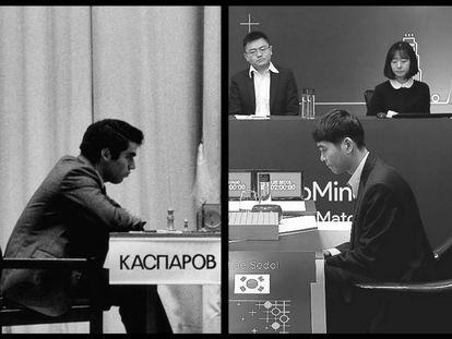 A la izquierda, el Kasparov de 1985. A la derecha, el Lee Sedol de 2016