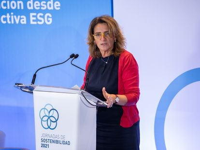 La vicepresidenta tercera y ministra de Transición Ecológica y Reto Demográfico, Teresa Ribera, en la inauguración de unas jornadas sobre sostenibilidad.