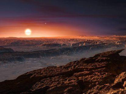 Recreación de la superficie del planeta Proxima b y su estrella Proxima Centauri.
