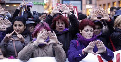 Imagen de archivo de una concentración contra la violencia machista en Madrid.