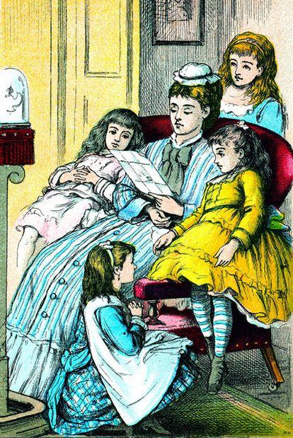 Portada de la edición de <i>Mujercitas,</i> de Louisa May Alcott, de Good Tone Library, de 1880 <b>(del libro</b><i> 1001 libros infantiles que hay que leer antes de crecer,</i> de Julia Eccleshare, Grijalbo).