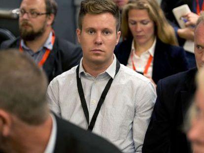 El líder de las juventudes laboristas, Eskil Pedersen, a su llegada a la sala.