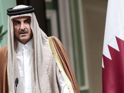 El emir de Qatar, Tamim Bin Hamad Al Thani, en enero del año pasado en Irán.