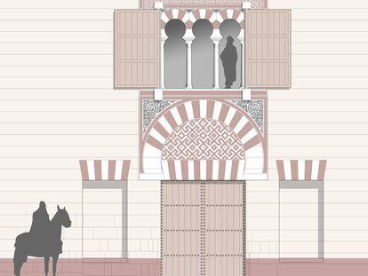 Reconstrucción digital de la puerta oriental de la plaza de Armas.