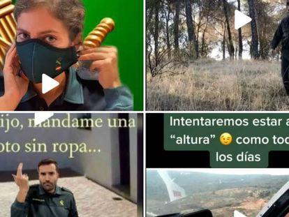 Distintos momentos del perfil de TikTok de la Guardia Civil. En vídeo, la próxima grabación que el instituto armado publicará en la red social, adelantada a EL PAÍS.