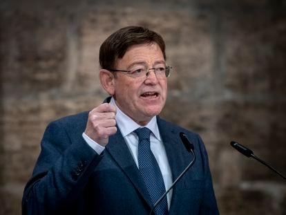 El presidente de la Generalitat, Ximo Puig, este martes en el Palau de la Generalitat.