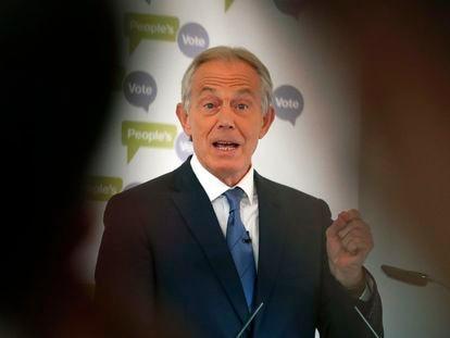 El ex primer ministro británico, Tony Blair, ofrece un discurso en la Academia Británica en Londres, en diciembre de 2018.