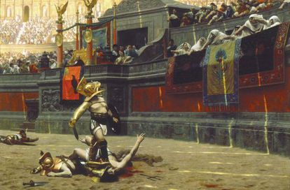 'Pollice verso', óleo del pintor del XIX Jean-Leon Gérôme, que toma su nombre del supuesto gesto para decretar la muerte del perdedor.