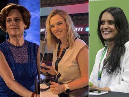 Las periodistas: Denise Dresser, Pamela Cerdeira y la escritora Alma Delia Murillo.