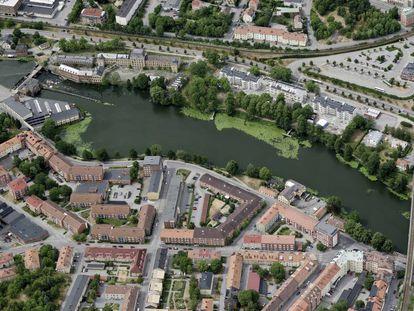 Vista aérea de la ciudad sueca de Eskilstuna.