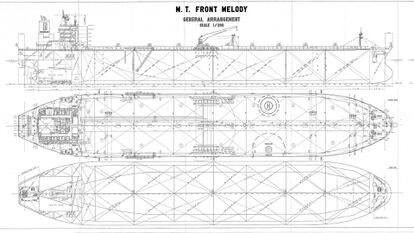 Plano de uno de los buques petroleros que se utilizaron en la trama.