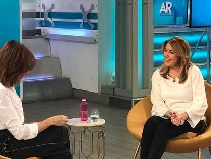 La presidenta de la Junta andaluza, Susana Díaz, entrevistada en Tele5.