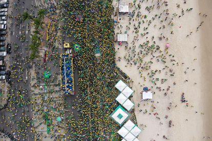 Vista aérea de la manifestación bolsonarista de este martes en Brasilia.