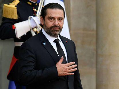 El primer ministro Saad Hariri, en el Eliseo, el pasado lunes.