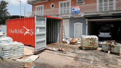 Imagen del contenedor en Asunción, Paraguay, el pasado viernes 23 de octubre.