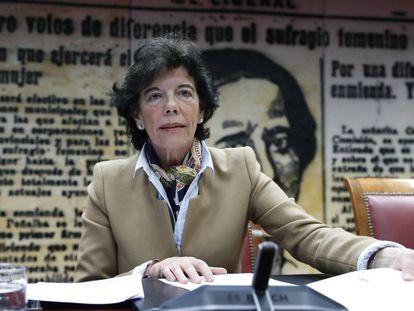 La ministra de Educación y portavoz del Gobierno, Isabel Celaá, la pasada semana en el Senado.