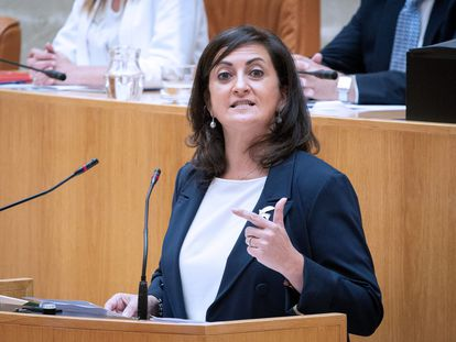 La presidenta del Gobierno de La Rioja, Concha Andreu, en el Parlamento regional el pasado miércoles.
