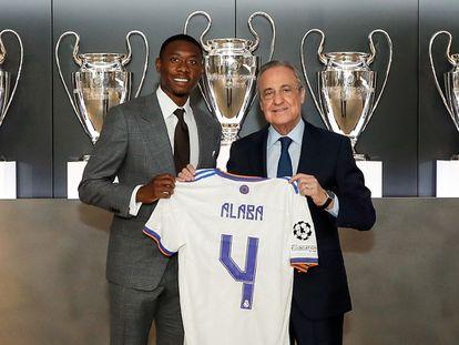 Defender David Alaba during his presentation at Real Madrid