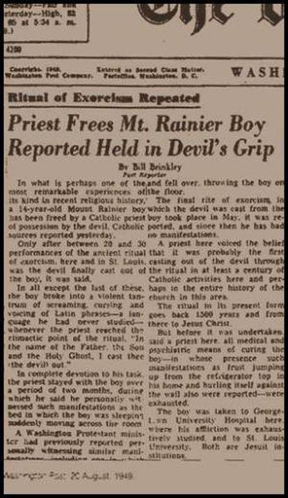 Portada del Washington Post con la noticia del ecxorcismo. 20 de agosto de 1949