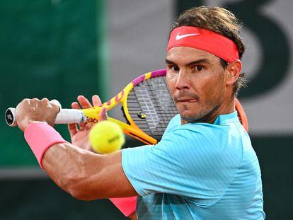 Nadal, este domingo en el partido ante Djokovic en la final de Roland Garros.