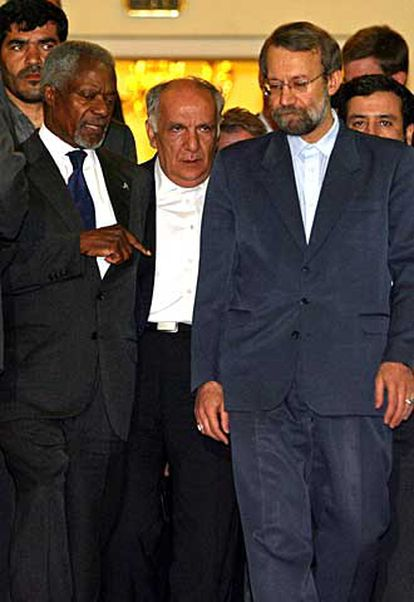 Annan conversa con Lariyani, hoy en Teherán.
