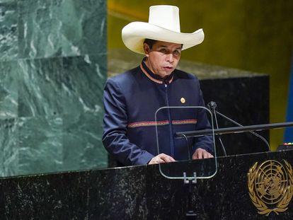 El presidente de Perú, Pedro Castillo, durante una sesión de la Asamblea General de la ONU, el pasado 21 de septiembre, en Nueva York (Estados Unidos).