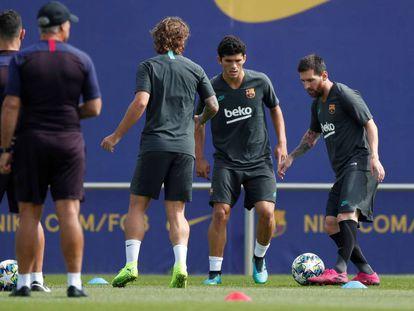 Messi, en el entrenamiento, en San Joan Despí.