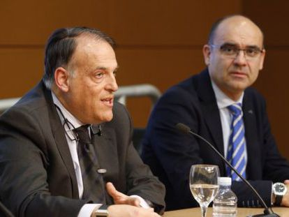 Javier Tebas y el rector de Alicante, Manuel Palomar
