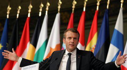 El presidente frnacés, Emmanuel Macron, durante un discurso este martes en París.