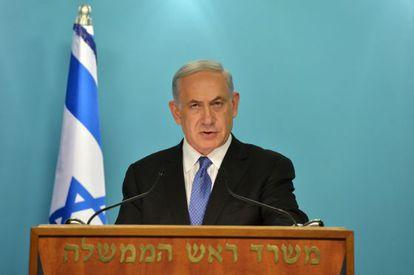 El primer ministro Netanyahu durante su comparecencia el viernes.