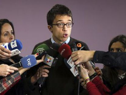 Errejón, este viernes en la sede de Podemos en Madrid.