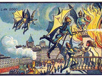 Imagen de la serie de postales 'En el año 2000', creadas entre 1899 y 1910 por Jean-Marc Cote y otros ilustradores franceses.