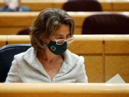 La ministra para la Transición Ecológica, Teresa Ribera, este lunes en el Senado.