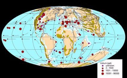Mapa paleogeográfico de la distribución y la concentración de iridio del asteroide en todo el mundo