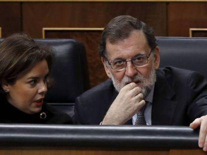 Santamaría y Rajoy, este miércoles, en el Congreso.