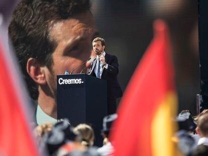 Pablo Casado, durante el acto de clausura de la convención nacional del PP en Valencia.