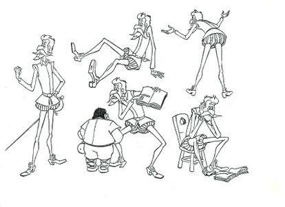 Bocetos de los personajes principales de la serie 'Don Quijote de la Mancha'.