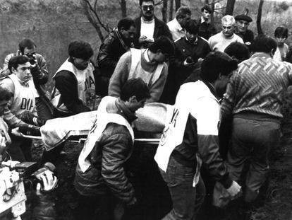 Rescate de los restos de Mikel Zabalza de río Bidasoa (Gipuzkoa).