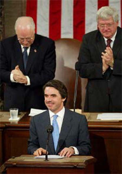 José María Aznar, en la tribuna de oradores del Congreso de Estados Unidos.