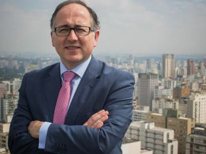 El presidente de Iberia, Luis Gallego, en São Paulo.