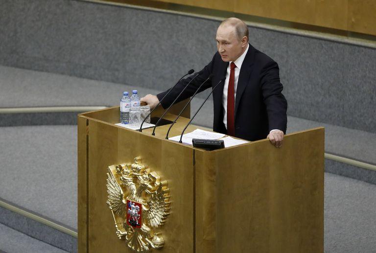 El presidente de Rusia, Vladímir Putin, en el Parlamento en Moscú, este martes.