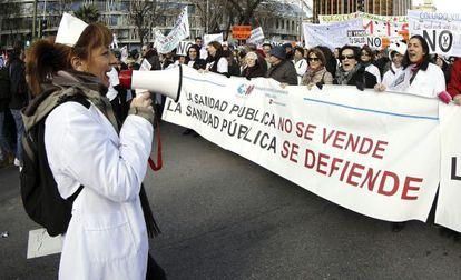 Protesta de trabajadores de la sanidad pública madrileña.