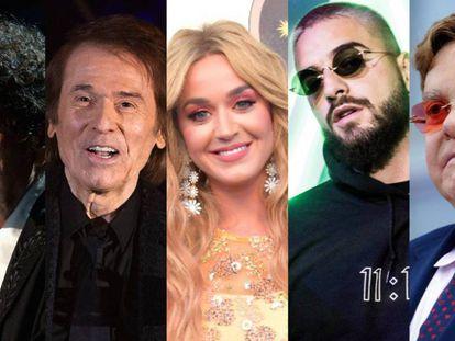 Los cantantes Bob Dylan, Raphael, Katy Perry, Maluma y Elton John. Todos ellos han escogido para su carrera artística nombres diferentes a los que tenían en su partida de nacimiento. Pincha en la imagen para ver el vídeo.