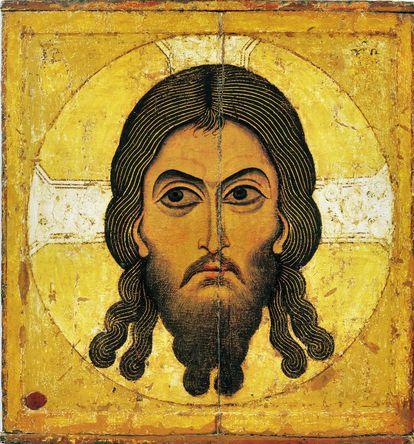 'Christos Acheiropoietos', icono ruso de la escuela Novgorod (hacia el año 1100).