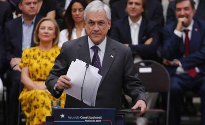 El presidente Sebastián Piñera en una conferencia en el Palacio de La Moneda de Santiago, el 23 de diciembre.