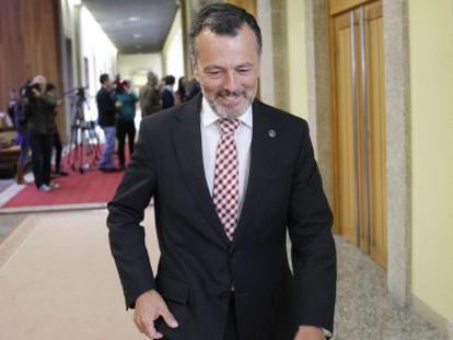 Agustín Hernández, esta mañana en el Parlamento gallego